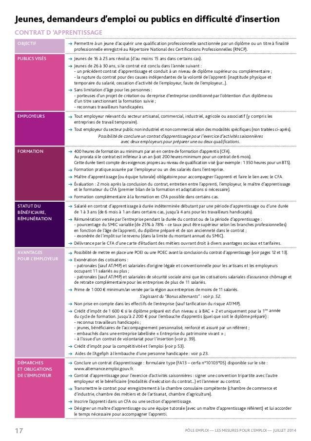 Mesures pour l 39 emploi p le emploi juillet 2014 - Formation cuisine collective pole emploi ...