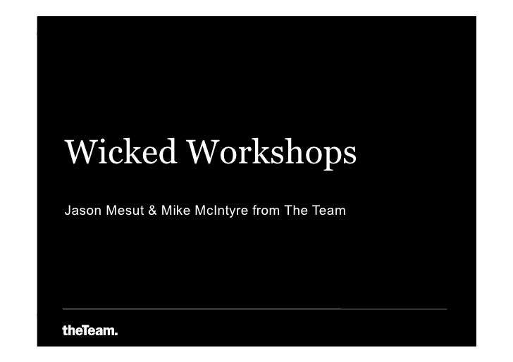 Wicked Workshops Jason Mesut & Mike McIntyre from The Team
