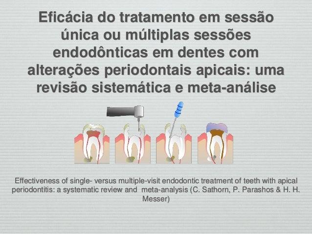 Eficácia do tratamento em sessão única ou múltiplas sessões endodônticas em dentes com alterações periodontais apicais: um...