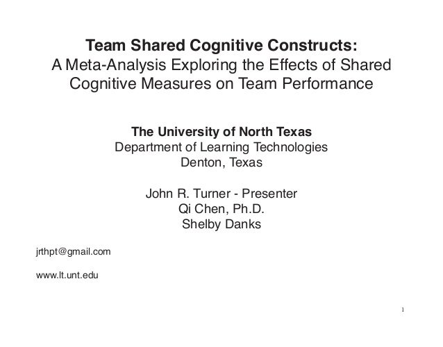 Team Shared Cognitive Constructs:   A Meta-Analysis Exploring the Effects of Shared     Cognitive Measures on Team Perform...