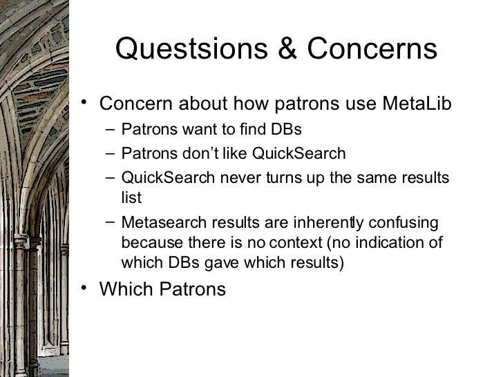 Meta Lib Usage Patterns - ELUNA 2007 Slide 2