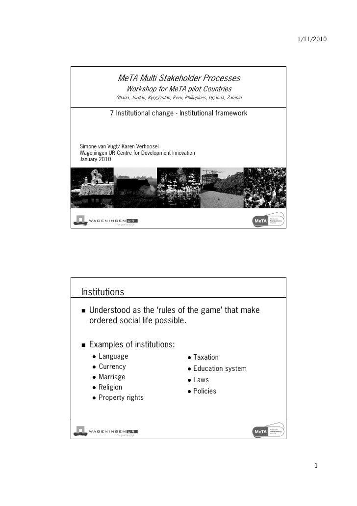 1/11/2010                    MeTA Multi Stakeholder Processes                   Workshop for MeTA pilot Countries         ...