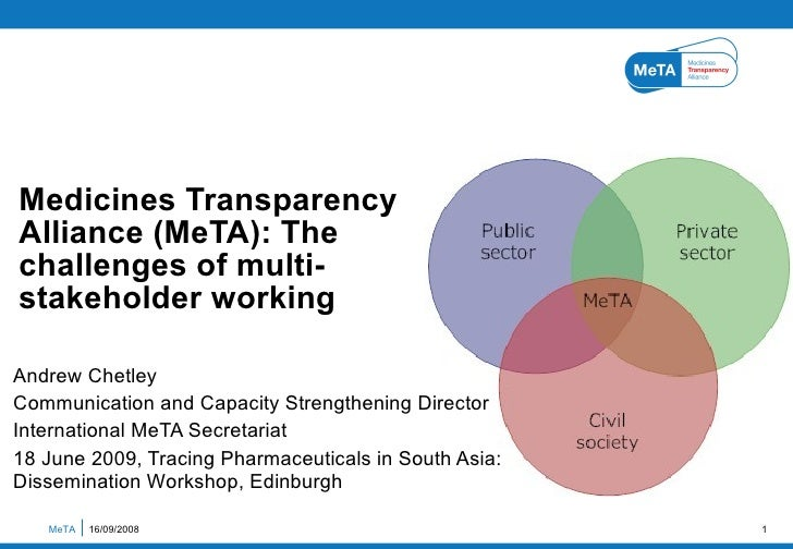 Medicines Transparency Alliance (MeTA): The challenges of multi- stakeholder working  Andrew Chetley Communication and Cap...