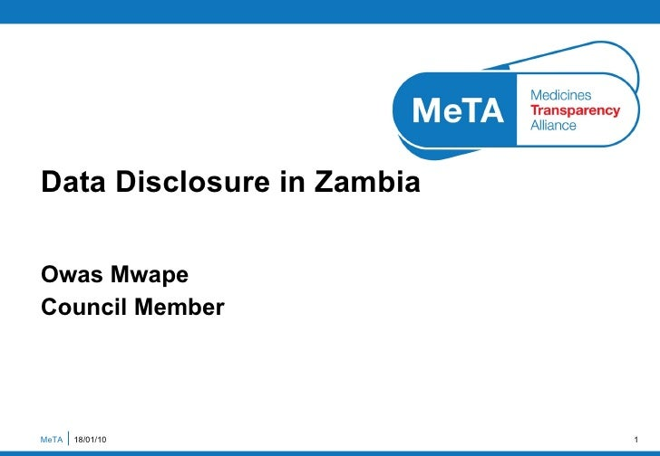 Owas Mwape Council Member Data Disclosure in Zambia  MeTA  18/01/10