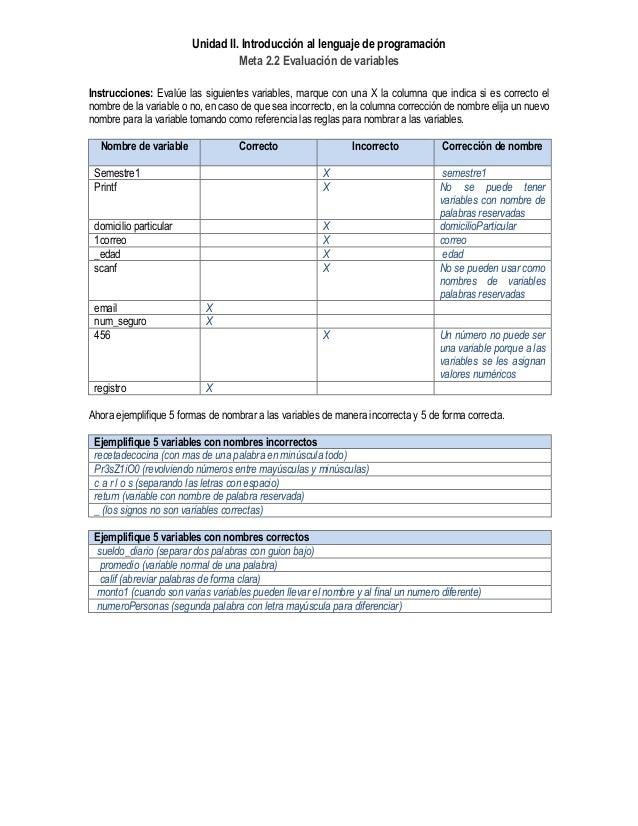 Unidad II. Introducción al lenguaje de programación Meta 2.2 Evaluación de variables Instrucciones: Evalúe las siguientes ...