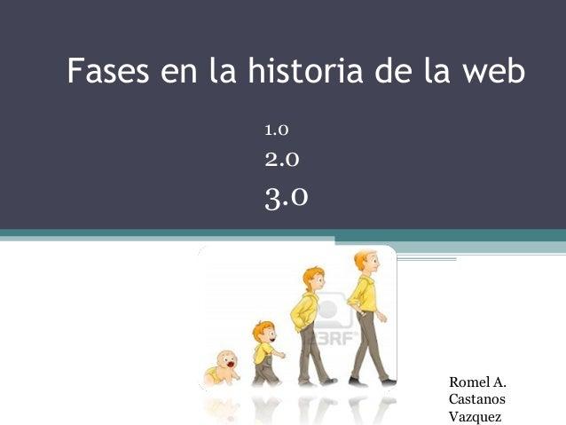 Fases en la historia de la web 1.0 2.0 3.0 Romel A. Castanos Vazquez