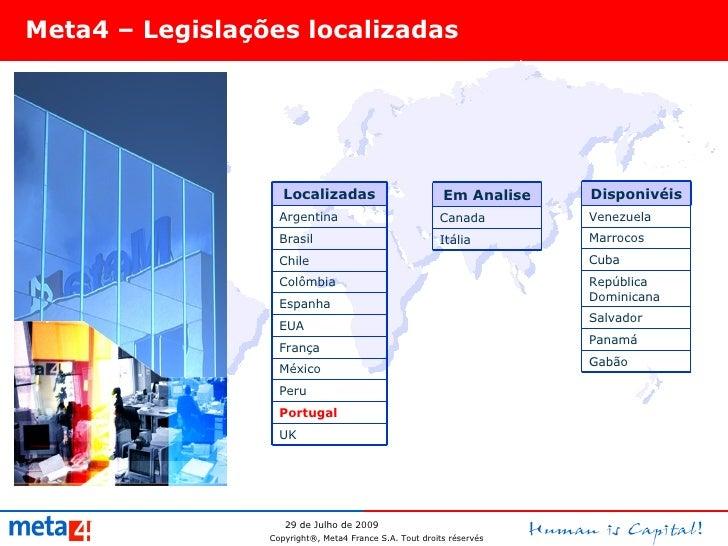 Meta4 – Legislações localizadas Portugal UK Peru México França EUA Espanha Colômbia Chile Brasil Argentina Localizadas Ven...
