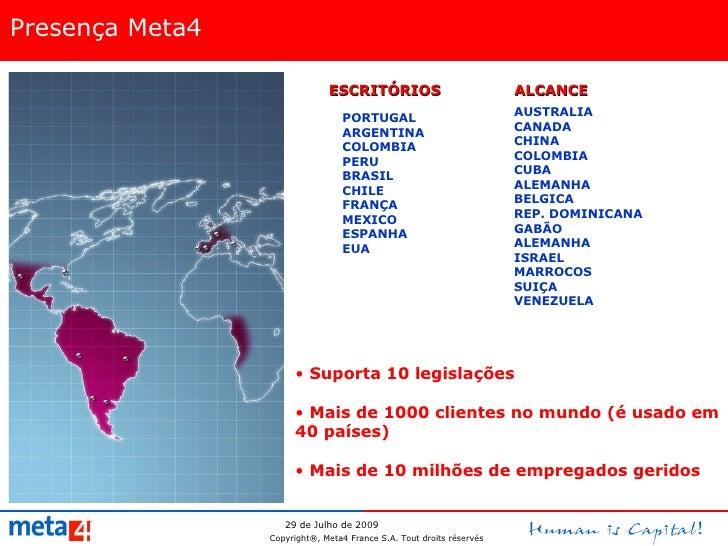 Presença Meta4 ESCRITÓRIOS PORTUGAL ARGENTINA COLOMBIA PERU BRASIL CHILE FRANÇA MEXICO ESPANHA EUA ALCANCE <ul><li>Suporta...