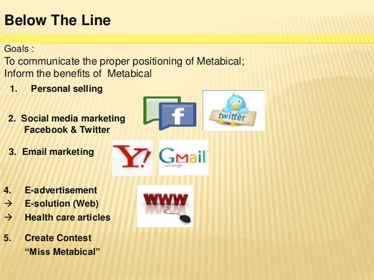 metabical positioning and communications strategy for Marketing communication strategy planimplement above the line goals : to  introduce metabical to communicate the proper positioning of.