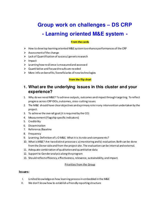 Group work on challenges – DS CRP - Learning oriented M&E system - From the cards  How to developlearningorientedM&Esyste...