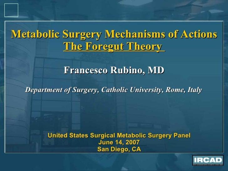 Metabolic Surgery Mechanisms of Actions The Foregut Theory  Francesco Rubino, MD Department of Surgery, Catholic Universit...