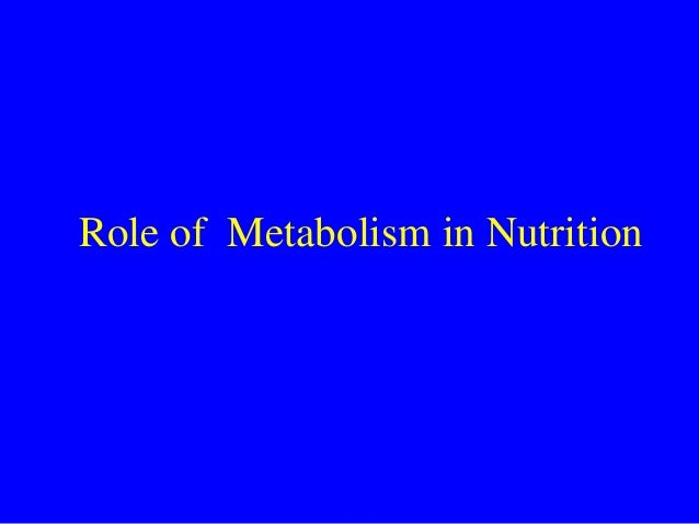 Role of Metabolism in Nutrition