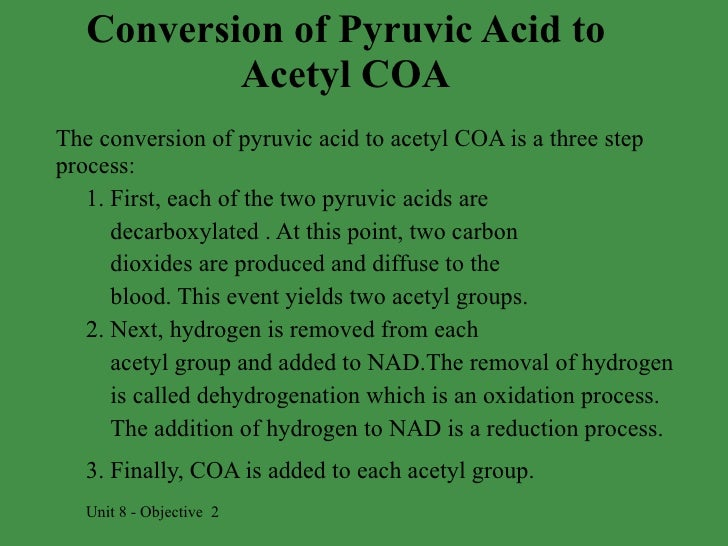 when pyruvic acid is converted to acetyl coa