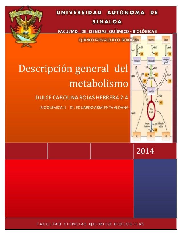 F A C U L T A D C I E N C I A S Q U I M I C O B I O L O G I C A S 2014 Descripción general del metabolismo DULCE CAROLINA ...