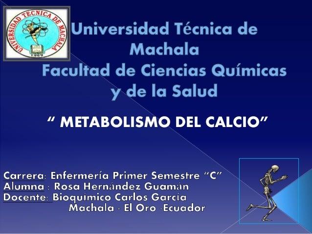 """"""" METABOLISMO DEL CALCIO"""""""
