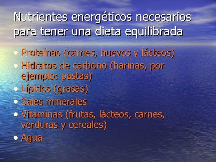 Nutrientes energéticos necesarios para tener una dieta equilibrada <ul><li>Proteínas (carnes, huevos y lácteos) </li></ul>...