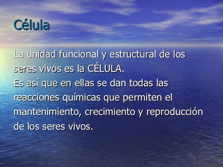 Célula <ul><li>La unidad funcional y estructural de los </li></ul><ul><li>seres vivos es la CÉLULA.  </li></ul><ul><li>Es ...