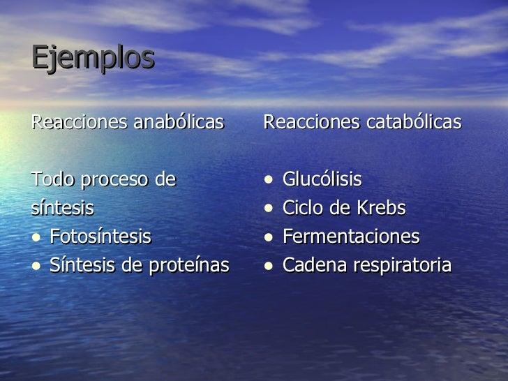 Ejemplos   <ul><li>Reacciones anabólicas </li></ul><ul><li>Todo proceso de  </li></ul><ul><li>síntesis </li></ul><ul><li>F...