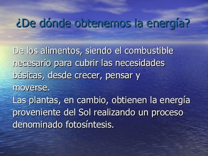 ¿De dónde obtenemos la energía? <ul><li>De los alimentos, siendo el combustible </li></ul><ul><li>necesario para cubrir la...