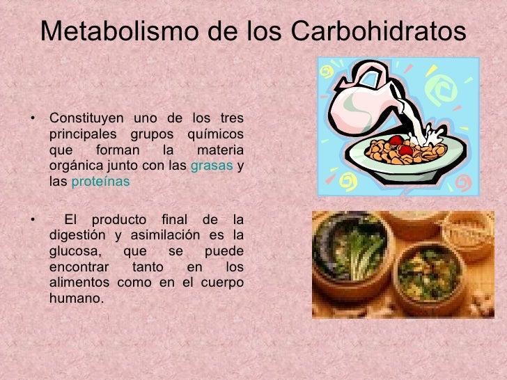 Metabolismo de los Carbohidratos <ul><li>Constituyen uno de los tres principales grupos químicos que forman la materia org...