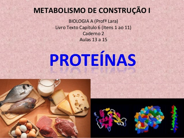 BIOLOGIA A (Profª Lara) Livro Texto Capítulo 6 (Itens 1 ao 11) Caderno 2 Aulas 13 a 15 METABOLISMO DE CONSTRUÇÃO I