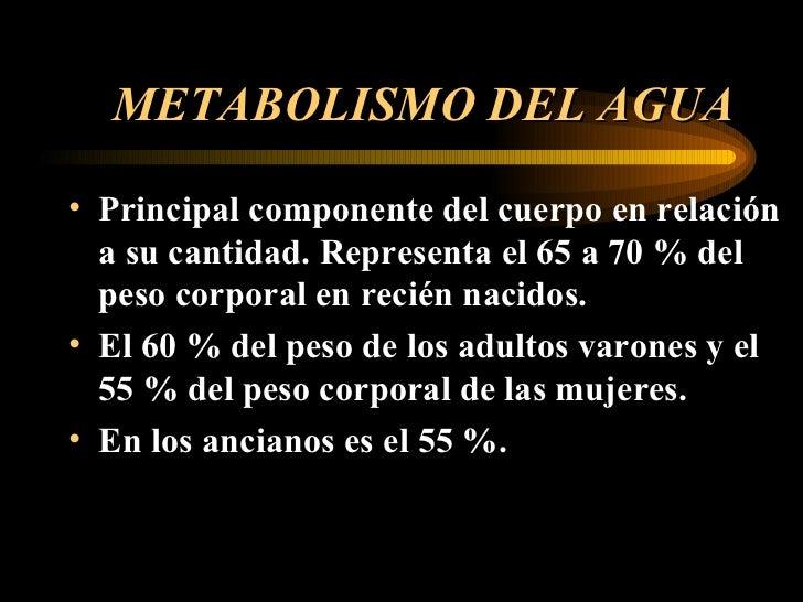 METABOLISMO DEL AGUA <ul><li>Principal componente del cuerpo en relación a su cantidad. Representa el 65 a 70 % del peso c...