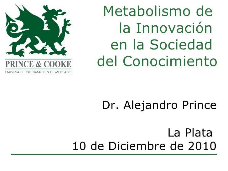 Metabolismo de  la Innovación  en la Sociedad  del Conocimiento Dr. Alejandro Prince La Plata  10 de Diciembre de 2010