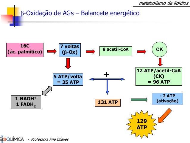 β-Oxidação de AGs – Balancete energético 16C (ác. palmítico) 7 voltas (β-Ox) 5 ATP/volta = 35 ATP 8 acetil-CoA 12 ATP/acet...