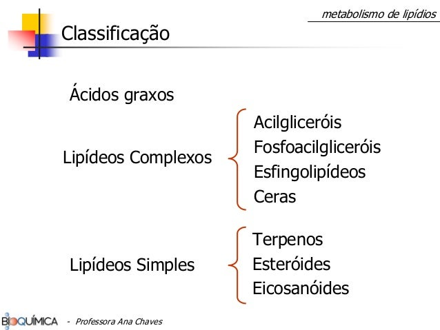 Acilgliceróis Fosfoacilgliceróis Esfingolipídeos Ceras Terpenos Esteróides Eicosanóides Lipídeos Simples Lipídeos Complexo...