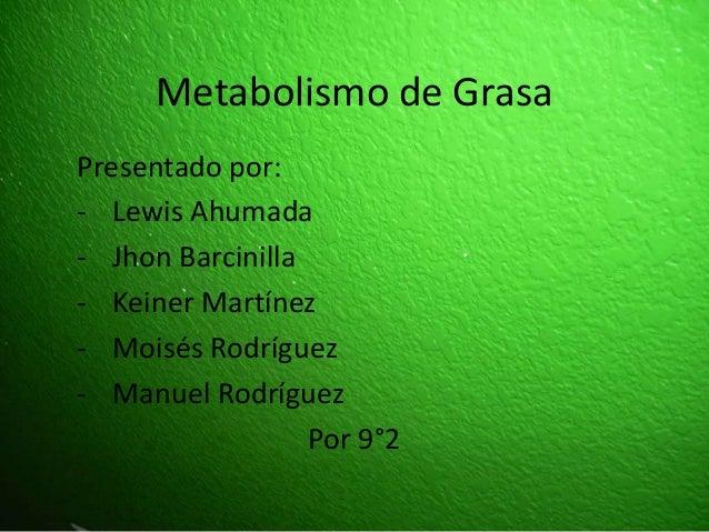 Metabolismo de Grasa Presentado por: - Lewis Ahumada - Jhon Barcinilla - Keiner Martínez - Moisés Rodríguez - Manuel Rodrí...