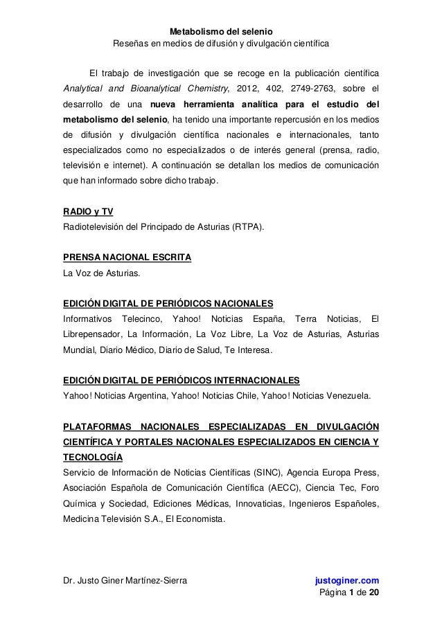 Metabolismo del selenioReseñas en medios de difusión y divulgación científicaDr. Justo Giner Martínez-Sierra justoginer.co...