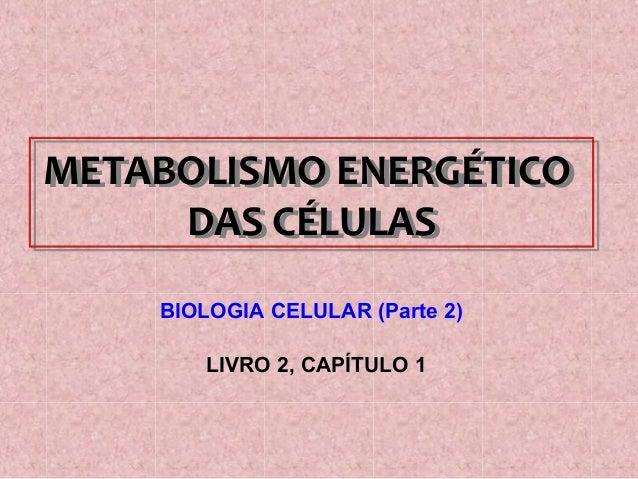METABOLISMO ENERGÉTICO  DAS CÉLULAS  BIOLOGIA CELULAR (Parte 2)  LIVRO 2, CAPÍTULO 1