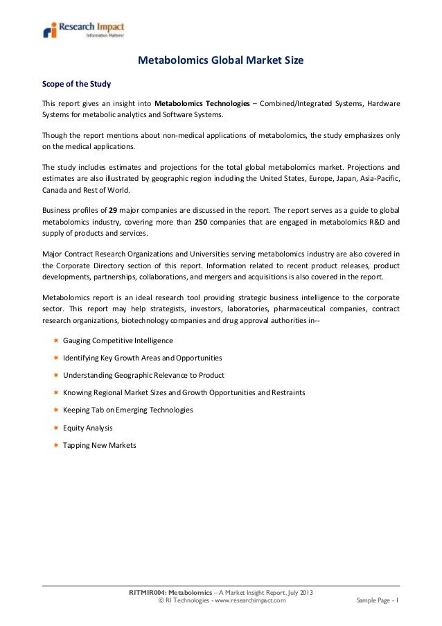 RITMIR004: Metabolomics – A Market Insight Report, July 2013 © RI Technologies - www.researchimpact.com Sample Page - 1 Me...