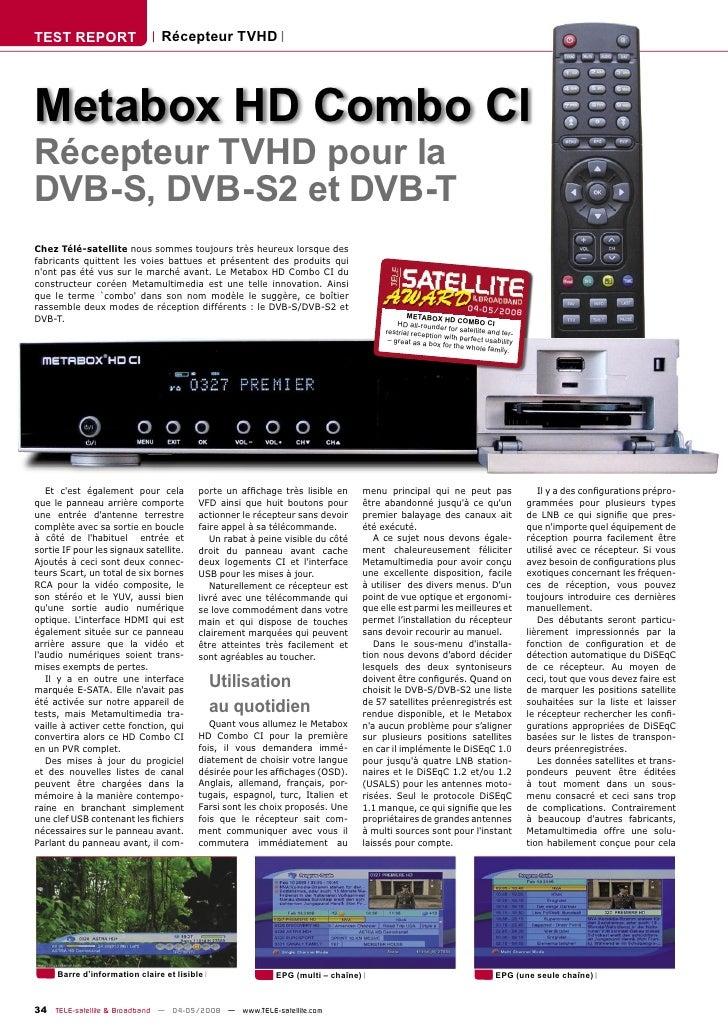 TEST REPORT                    Récepteur TVHD     Metabox HD Combo CI Récepteur TVHD pour la DVB-S, DVB-S2 et DVB-T Chez T...