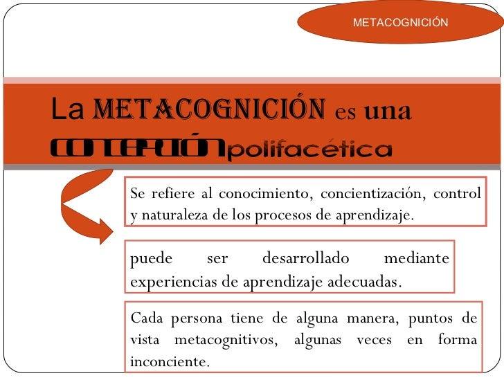 METACOGNICIÓN La  metacognición  es  una  concepción   polifacética Se refiere al conocimiento, concientización, control y...