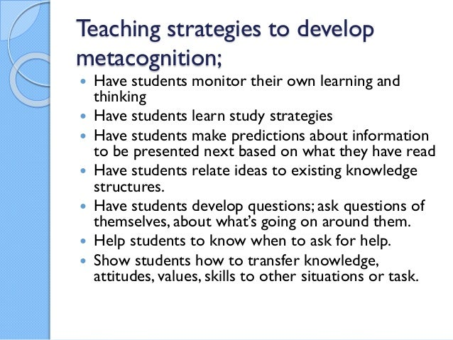 reaction paper on metacognition On course workshop and students are required to do several essays in response to given prompts that are this exercise in metacognition was one that had.