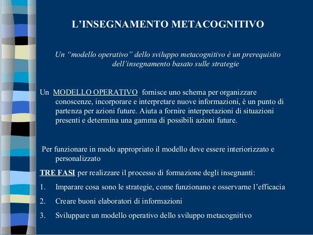 """L'INSEGNAMENTO METACOGNITIVO Un """"modello operativo"""" dello sviluppo metacognitivo è un prerequisito dell'insegnamento basat..."""