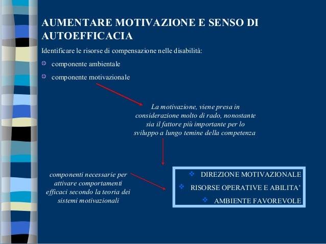 AUMENTARE MOTIVAZIONE E SENSO DI AUTOEFFICACIA Identificare le risorse di compensazione nelle disabilità: componente ambie...