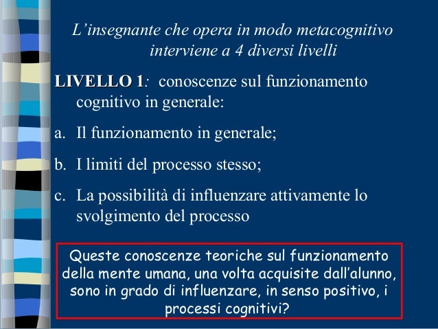 L'insegnante che opera in modo metacognitivo interviene a 4 diversi livelli LIVELLO 1LIVELLO 1: conoscenze sul funzionamen...