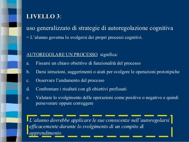 LIVELLO 3LIVELLO 3: uso generalizzato di strategie di autoregolazione cognitiva = L'alunno governa lo svolgersi dei propri...