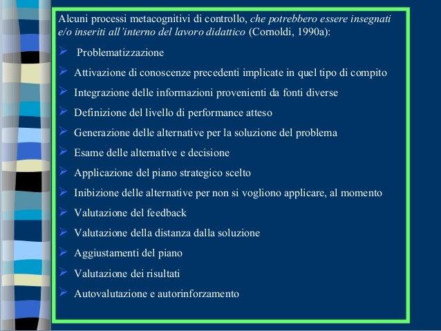 Alcuni processi metacognitivi di controllo, che potrebbero essere insegnati e/o inseriti all'interno del lavoro didattico ...