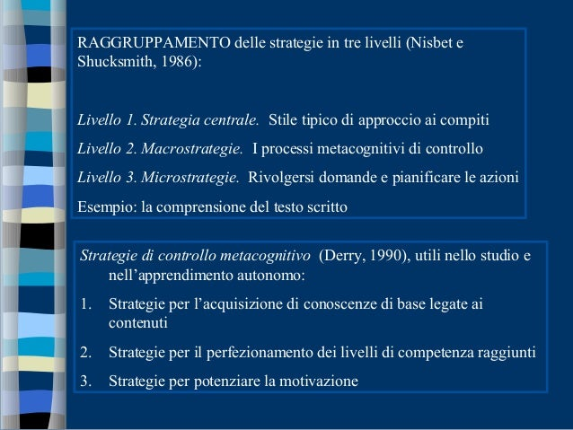 RAGGRUPPAMENTO delle strategie in tre livelli (Nisbet e Shucksmith, 1986): Livello 1. Strategia centrale. Stile tipico di ...