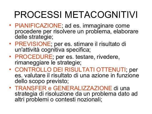 PROCESSI METACOGNITIVI • PIANIFICAZIONE; ad es. immaginare come procedere per risolvere un problema, elaborare delle strat...
