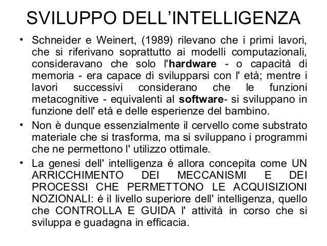 SVILUPPO DELL'INTELLIGENZA • Schneider e Weinert, (1989) rilevano che i primi lavori, che si riferivano soprattutto ai mod...