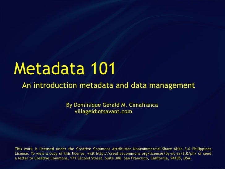 Metadata 101