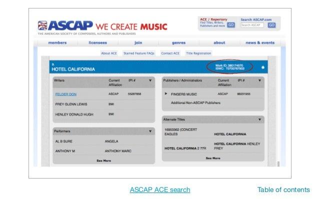 ASCAP IPI for registration.... - MusicLibraryReport