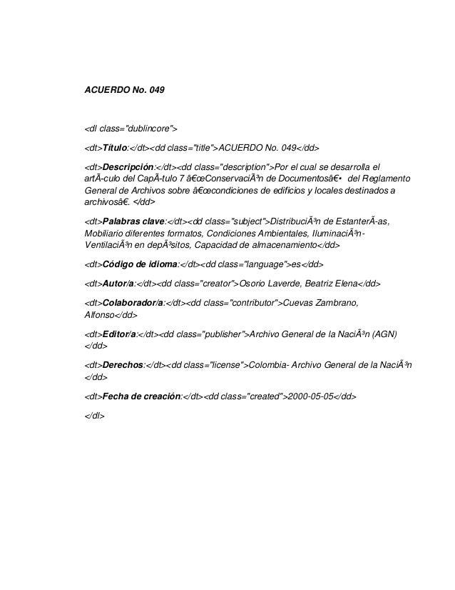 """ACUERDO No. 049<dl class=""""dublincore""""><dt>Título:</dt><dd class=""""title"""">ACUERDO No. 049</dd><dt>Descripción:</dt><dd class..."""