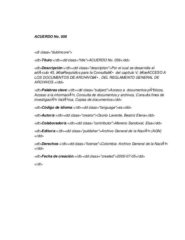 """ACUERDO No. 056<dl class=""""dublincore""""><dt>Título:</dt><dd class=""""title"""">ACUERDO No. 056</dd><dt>Descripción:</dt><dd class..."""