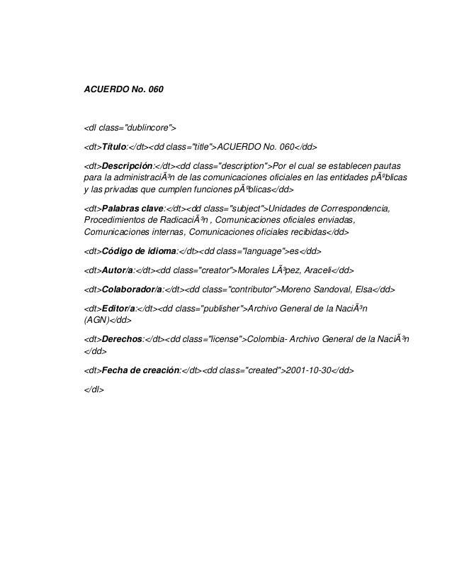"""ACUERDO No. 060<dl class=""""dublincore""""><dt>Título:</dt><dd class=""""title"""">ACUERDO No. 060</dd><dt>Descripción:</dt><dd class..."""
