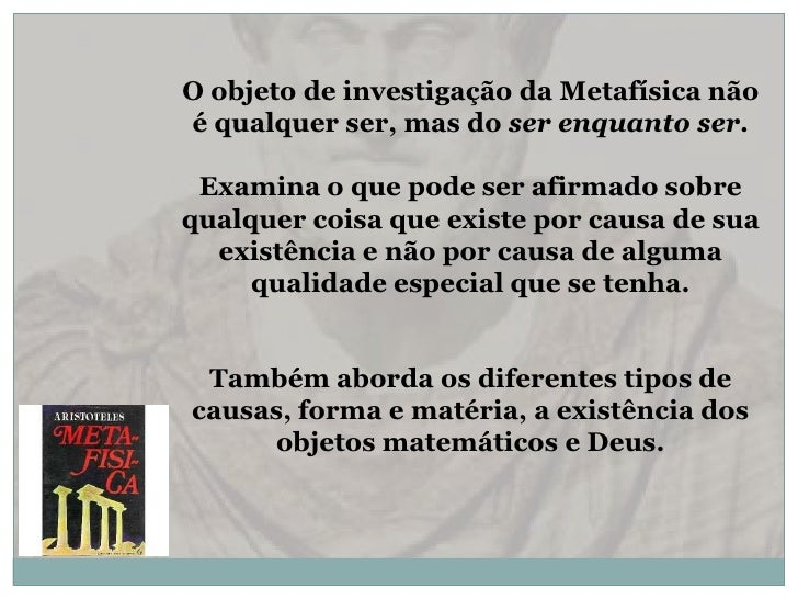 Metafísica em aristóteles Slide 2